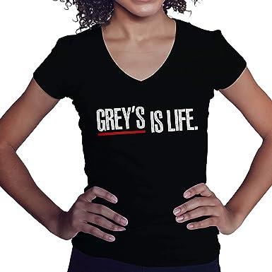 GreyS Is Life GreyS Anatomy Fun Logo Fan Merchandise Camisa Negra de Cuello en V para Mujer Size S: Amazon.es: Ropa y accesorios
