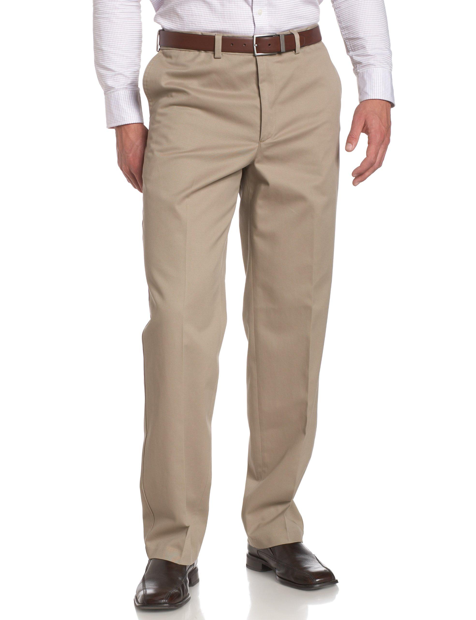 Savane Men's Flat Front Wrinkle Free Twill,Khaki,36W 32L