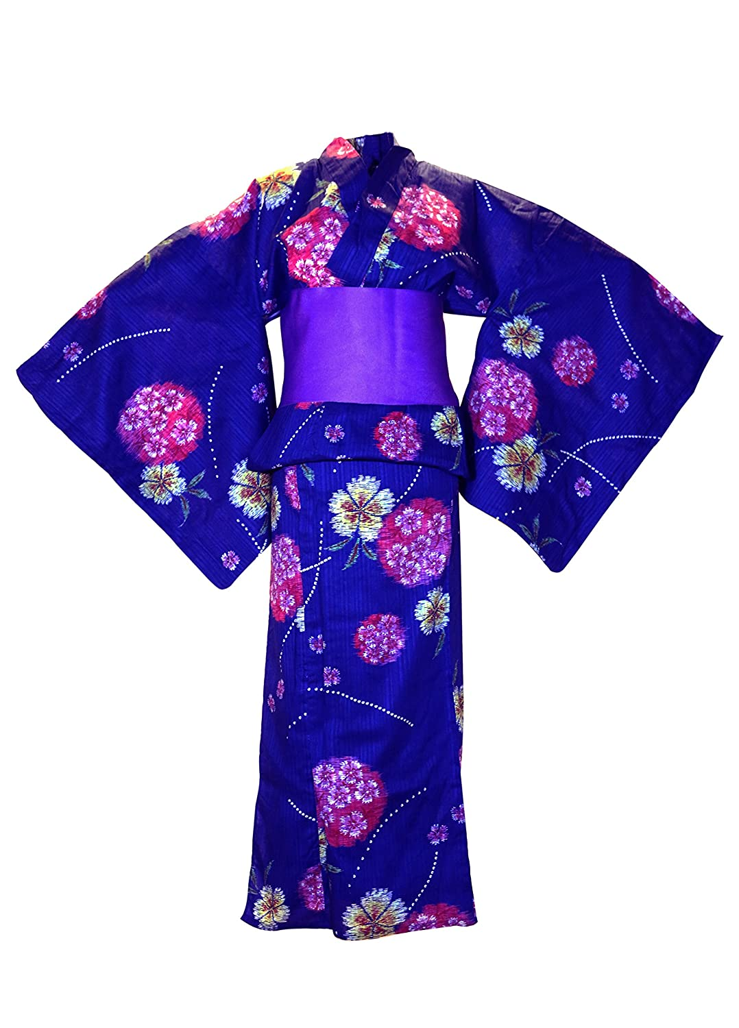Traditional Japanese Kimono Yukata design shipped direct from Japan  Beautifully light and Crisp 100% Pure Cotton fabric. Free Purple Obi Belt  included at no ... c310623ae