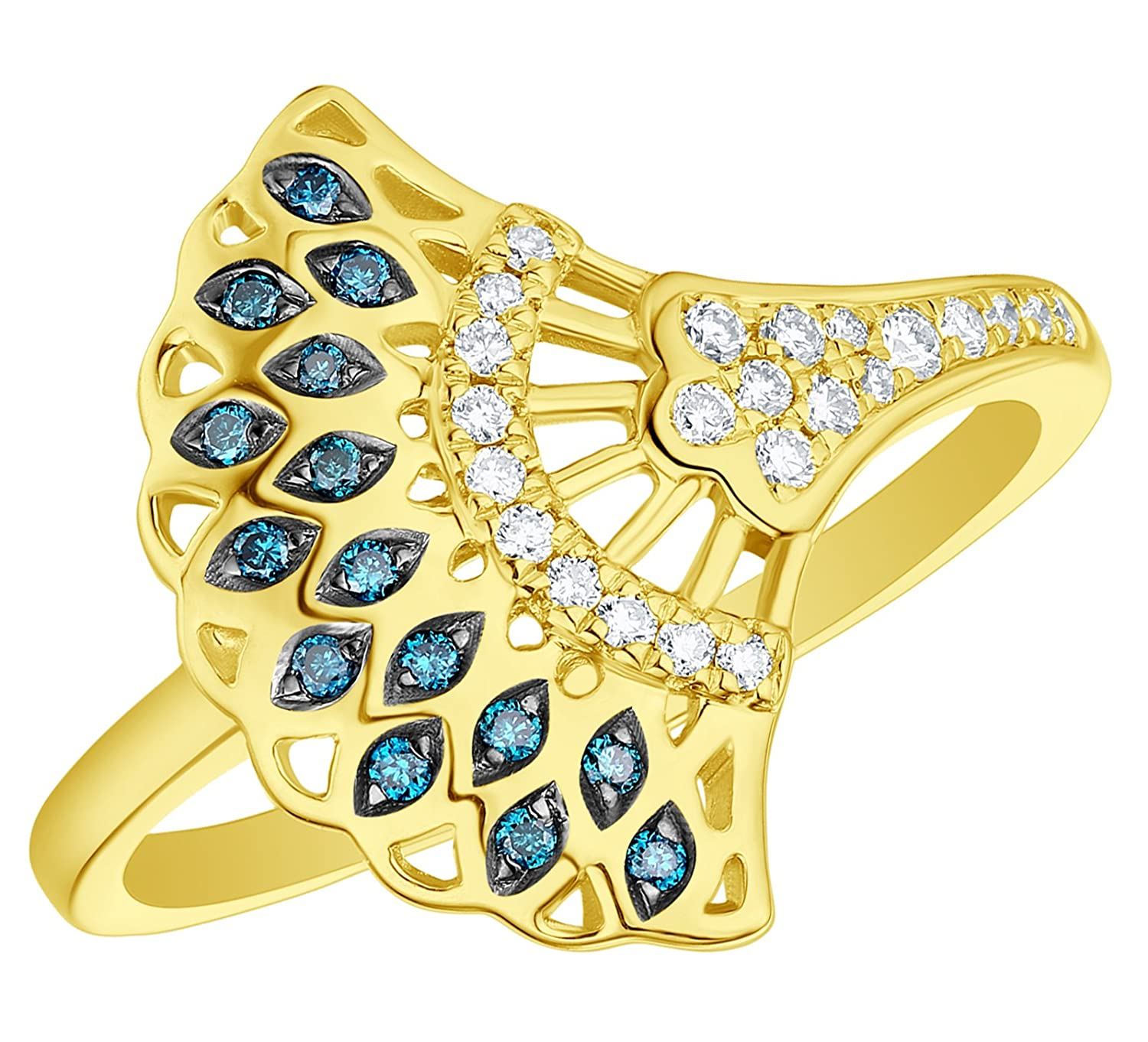 Prism Jewel 0.20Ct Blue//SI1 Diamond With Natural Diamond Hand Fan Style Ring 10k Gold