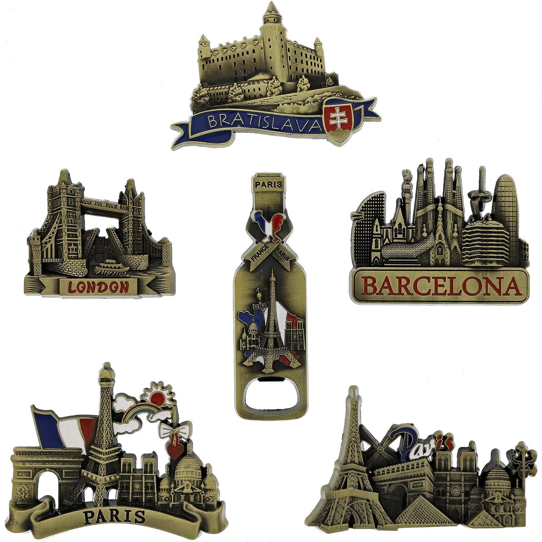 Juvale 6 Pack Refrigerator Magnets Paris, Barcelona, Bratislava, London - Copper