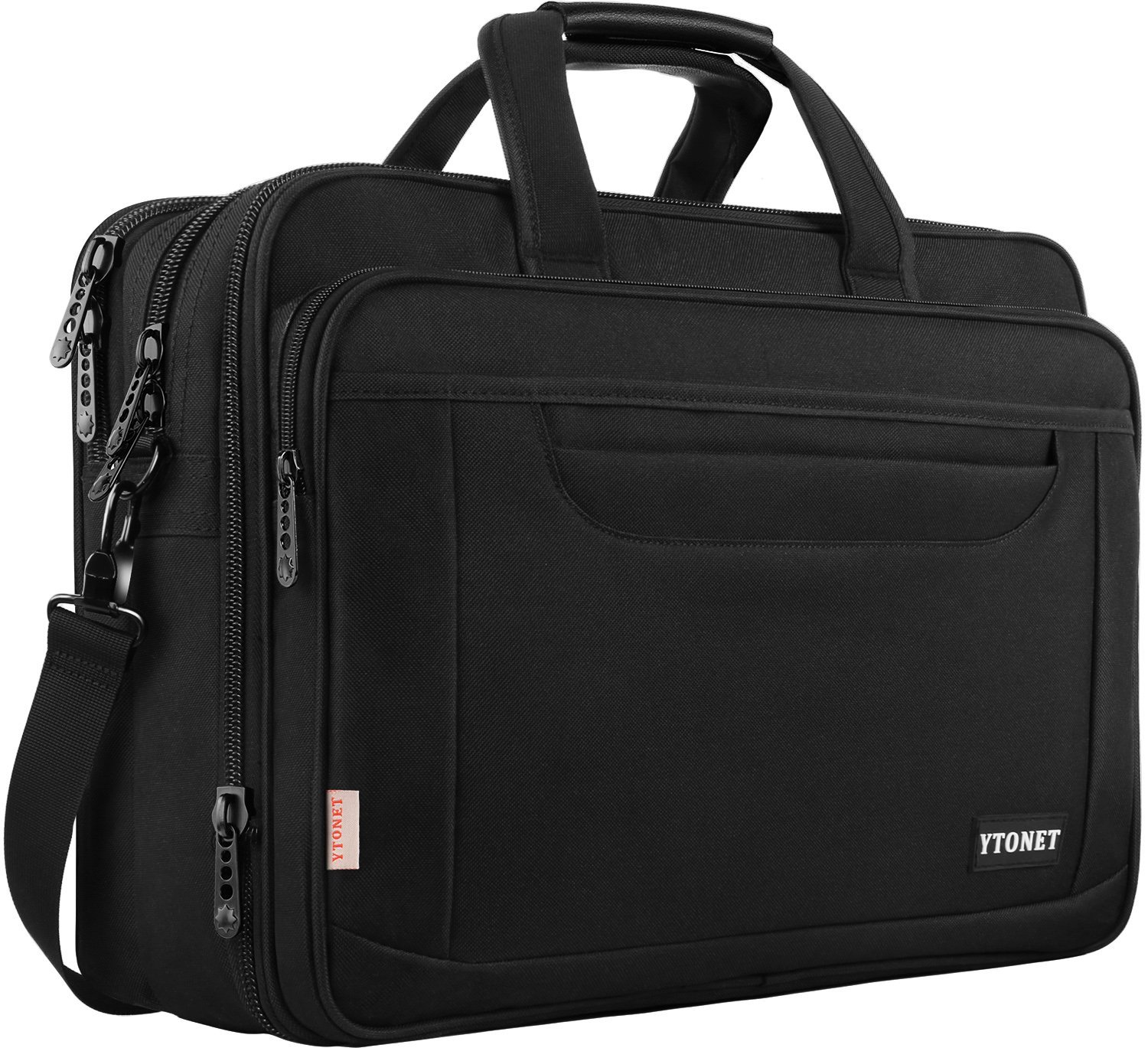 Laptop Bag, 17 Inch Expandable Briefcase for Men Women, Water Resistant Business Laptop Case, Durable Multifunctional Messenger Shoulder Bag Fit 17.3 17 Inch Notebook for Travel Office Work, Black