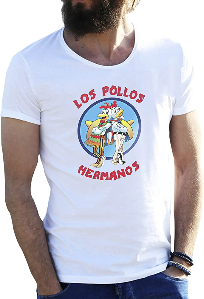 Los Pollos Hermanos Blanca Camiseta para Hombre en Grandes tamaños 4X Large: Amazon.es: Ropa y accesorios
