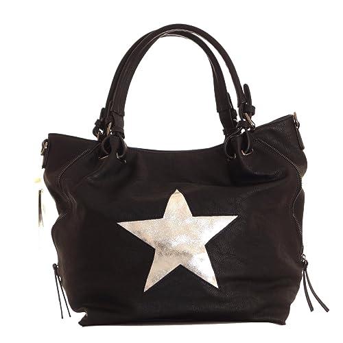cb6555a91322a Damen Tasche Shopper Beuteltasche mit großen silbernen Stern Handtasche  Umhängetasche Kunstleder