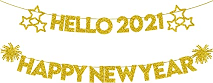 Happy New Year Glitter Banner \u2013 Real Glitter Star NYE Banner Gold Paper Glitter Hanging Banner Sign New Year Decorations No DIY Required