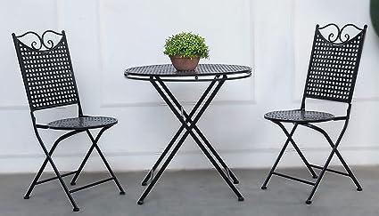 Bistrotisch Mit Stühlen Outdoor.Garten Set Landhaus Ein Tisch Und Zwei Stühle Aus Metall