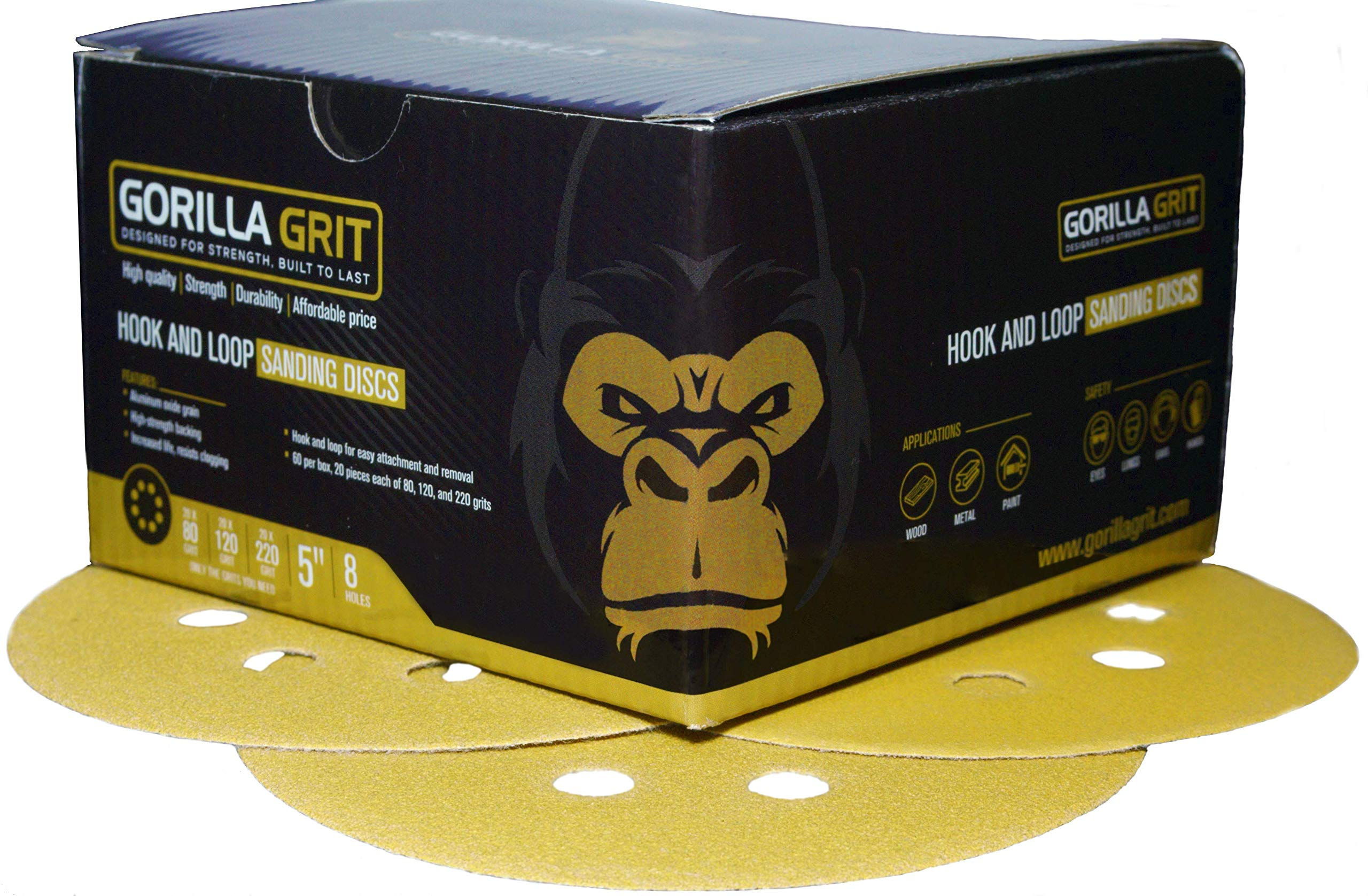 Gorilla Grit 60 PCS Sanding Discs 5 inch 8 Hole Hook and Loop for Orbital Sanders 3 Grits Assortment 20PCS Each 80/120/220 Premium Abrasive Sandpaper Pads for Wood and Metal Surfaces