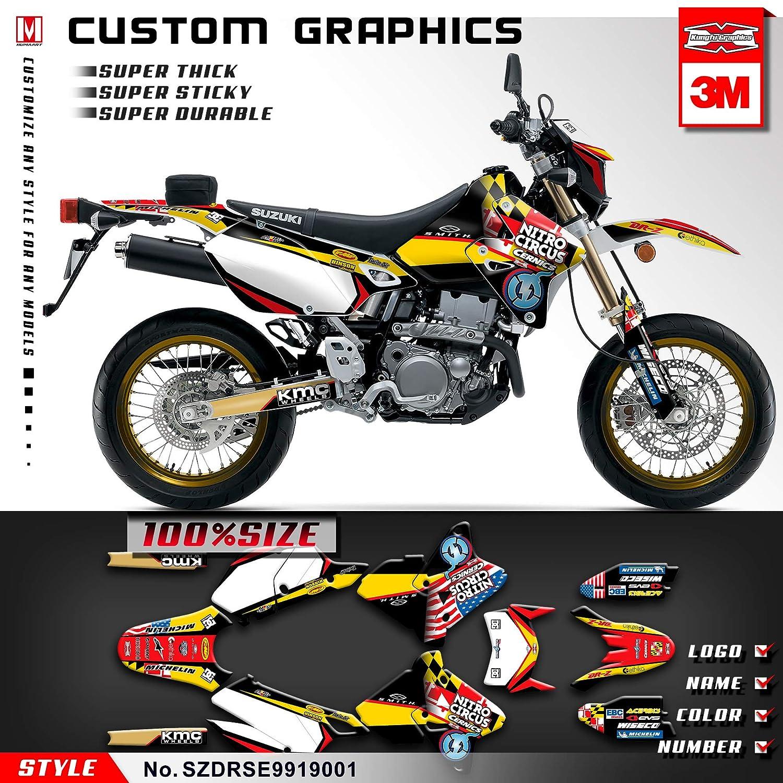 Kungfu graphics custom decal kit for suzuki drz400 sm supermoto 1999 2000 2001 2002 2003 2004 2005 2006 2007 2008 2009 2010 2011 2012 2013 2014 2015 2016