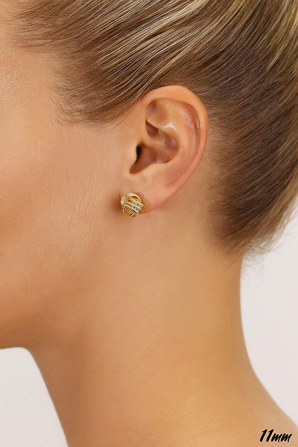 14kt Yellow Gold Lady/'s LOVE KNOT Fashion Earrings with Friction Posts for Pierced Ears.