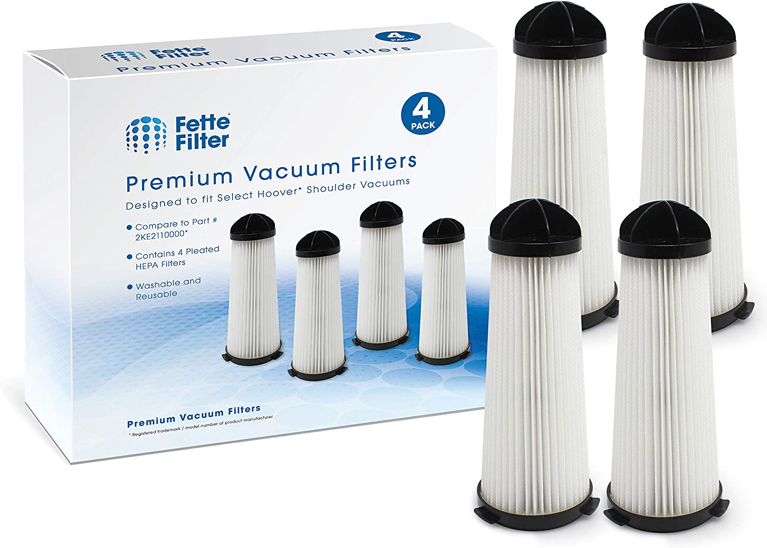 Fette Filter - Vacuum Filter Compatible with Hoover Shoulder Vacuums. Compare to Part # 2KE2110000 (4-Pack)
