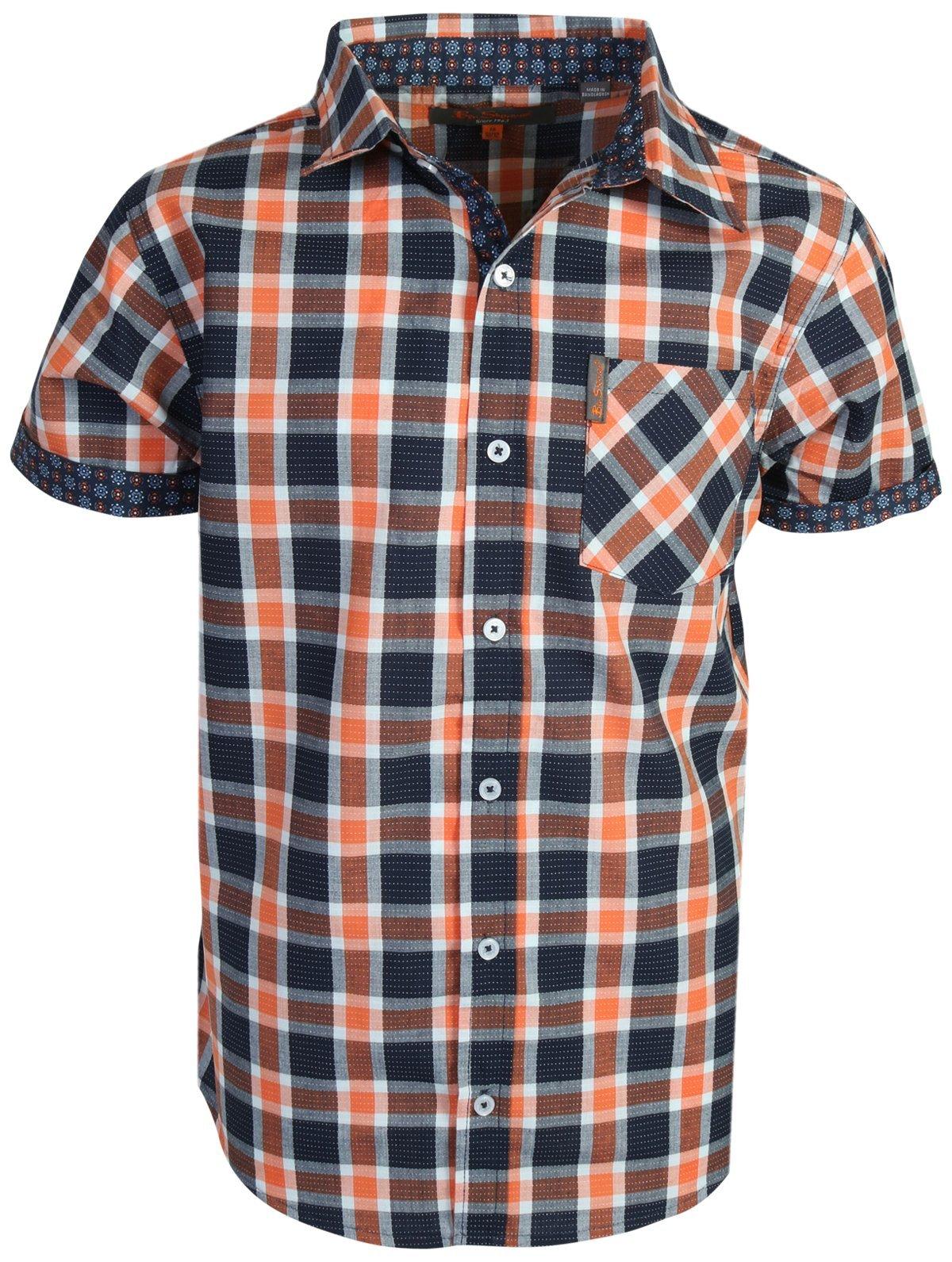 Ben Sherman Boys Short Sleeve Button Down Shirt (Blue Orange/Dobby, 10/12)'
