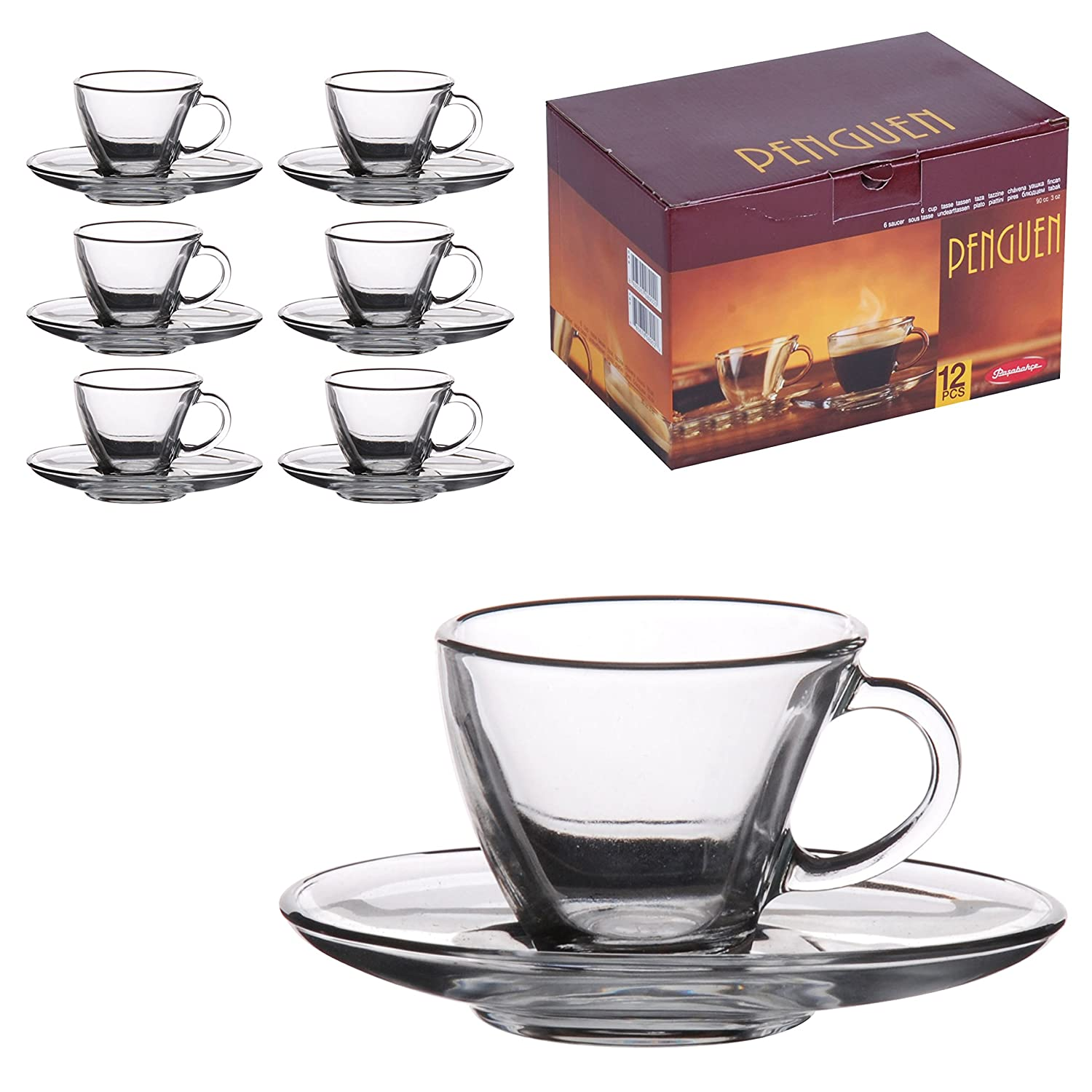 Glass espresso coffee cups uk - 6 Matching Glass Espresso Coffee Cup Saucers 12pc Set Amazon Co Uk Kitchen Home