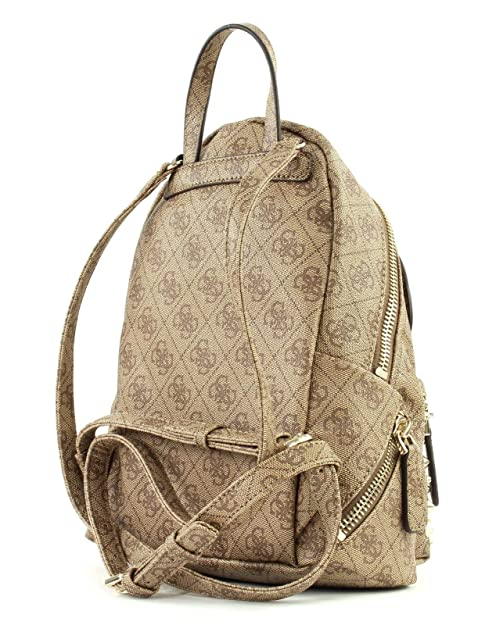 Borsa donna Guess mod Leeza small backpack ecopelle brown