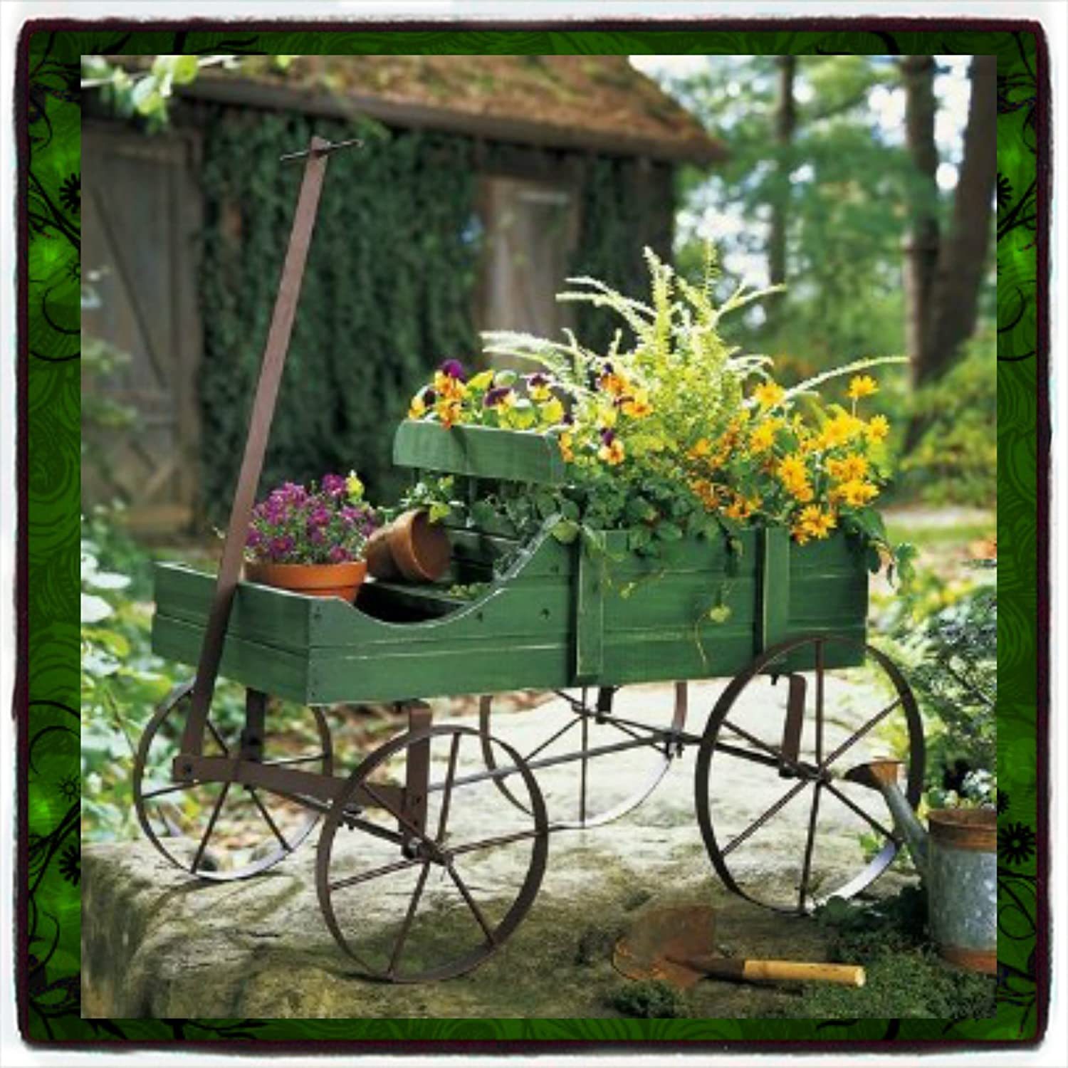 High Quality Amazon.com : Plant Stands Patio Wagon Showcase Flowers Wood Pot Stand Cart  Planter Garden Metal Garden Pot Planter Outdoor Yard Holder Display Decor  Green ...