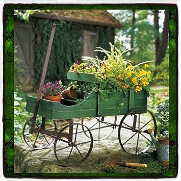 Plant Stands Patio Wagon Showcase Flowers Wood Pot Stand Cart Planter  Garden Metal Garden Pot Planter