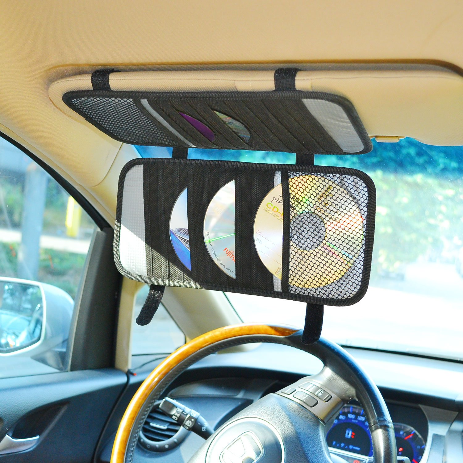 TFY Car Visor Organizer. Triple-layer, 30 CD/DVD Disk Storage Holder - Black by TFY