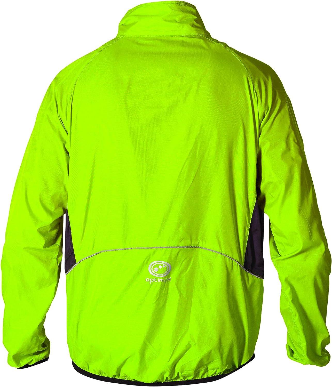Optimum Men Hawkley Cycling Stowaway Jacket Fluro Green