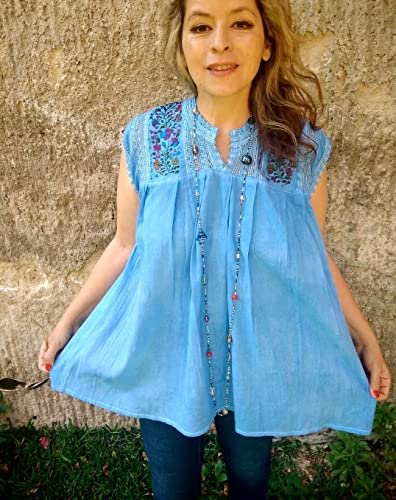 SuperBohemian Mexican Peasant Blouse Embroidered Tunic Blue for Women Plus  Size