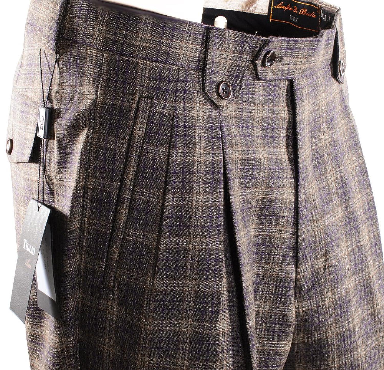 low-cost Tiglio 2586 Brown Purple Plaid Wide Leg Dress Pants Pure