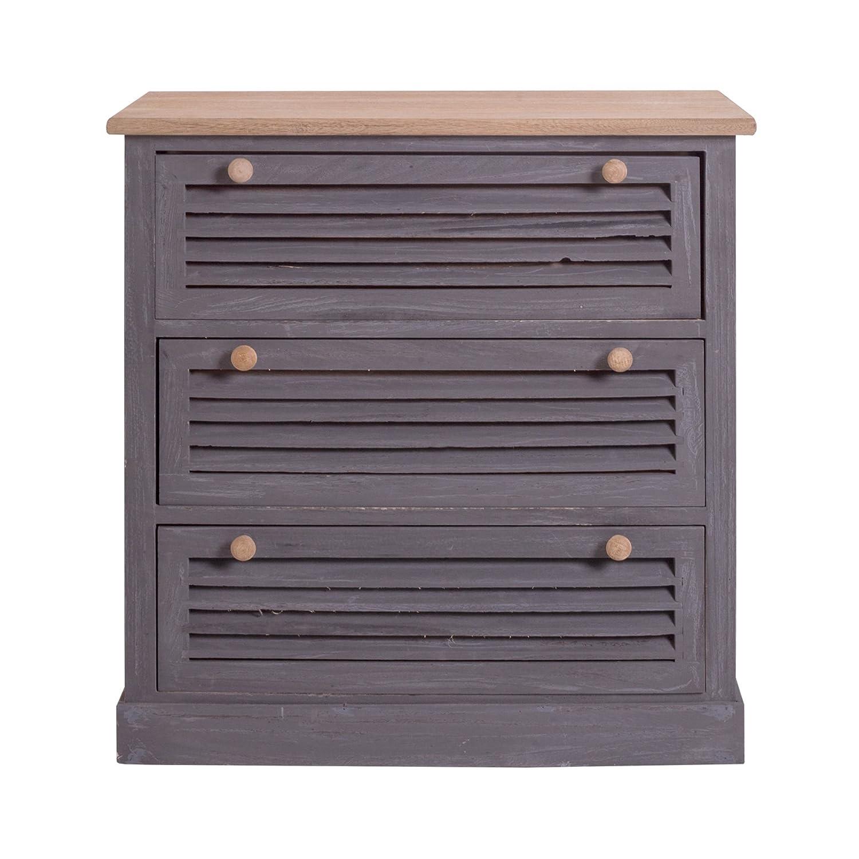 rebecca srl cassettiera mobile con 4 cassetti legno marrone grigio ... - Cassettiera Legno Scuro