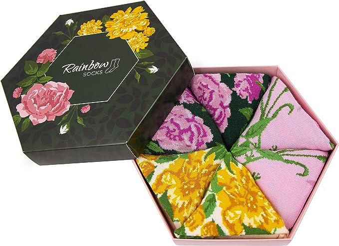 Rainbow Socks 2 paires Femme Coffret Cadeau Chaussettes Roses