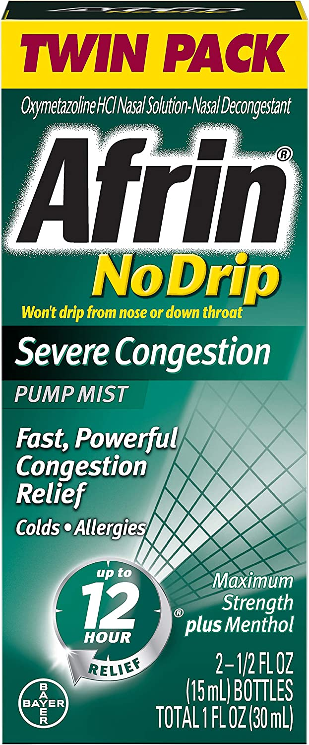 Afrin No Drip Severe Congestion Maximum Strength 12 Hour Nasal Congestion Relief Spray - 2 15 mL Bottles: Health & Personal Care