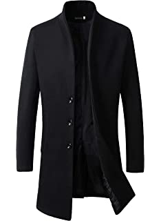 FTIMILD Mens Wool Trench Coat Slim Fit Single Breasted Overcoat Business Down Jacket Winter Topcoat