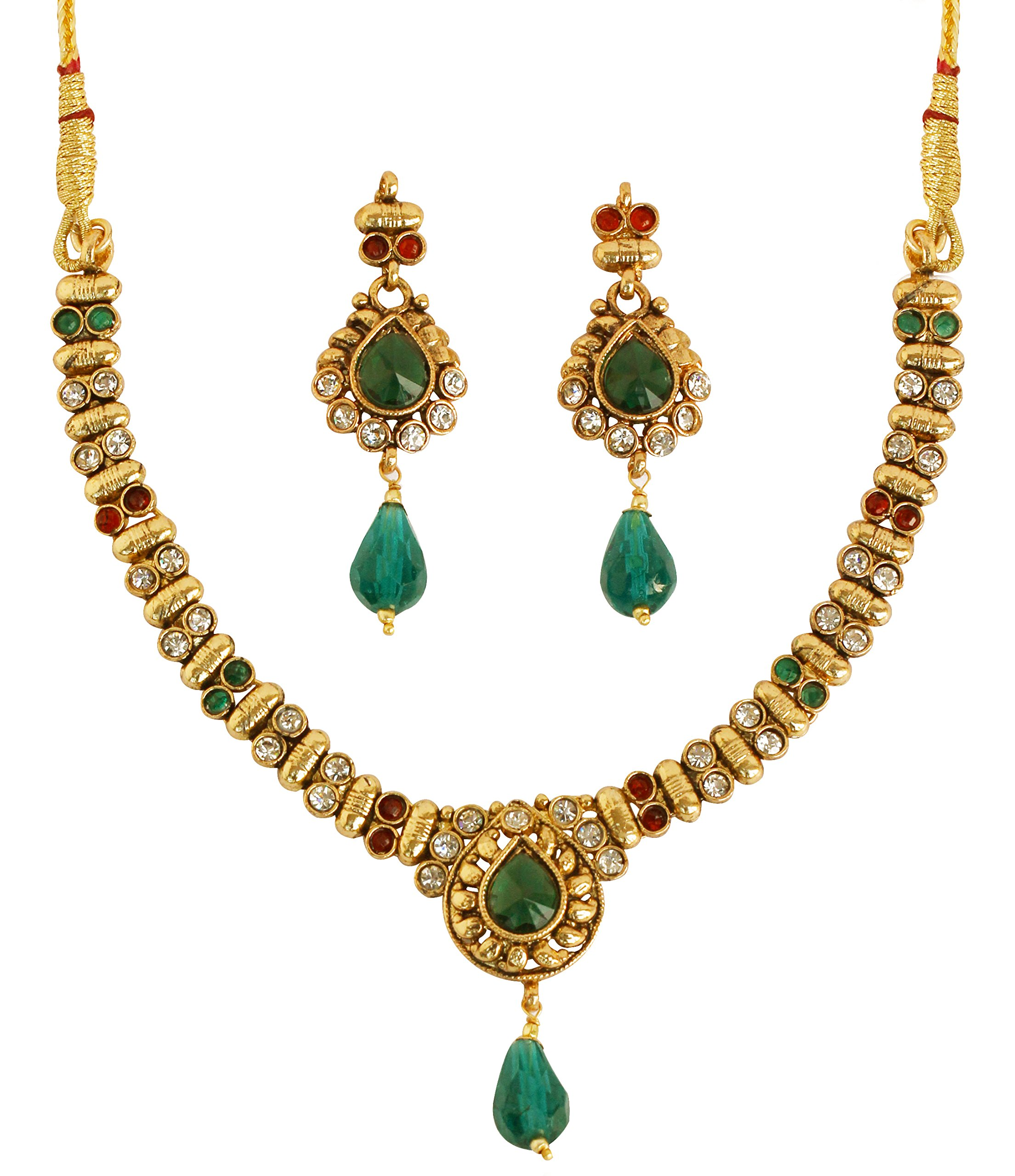 Touchstone Indian Bollywood White red Green Color Jewelry Necklace with 2'' lx0.75'w Earrings for Women