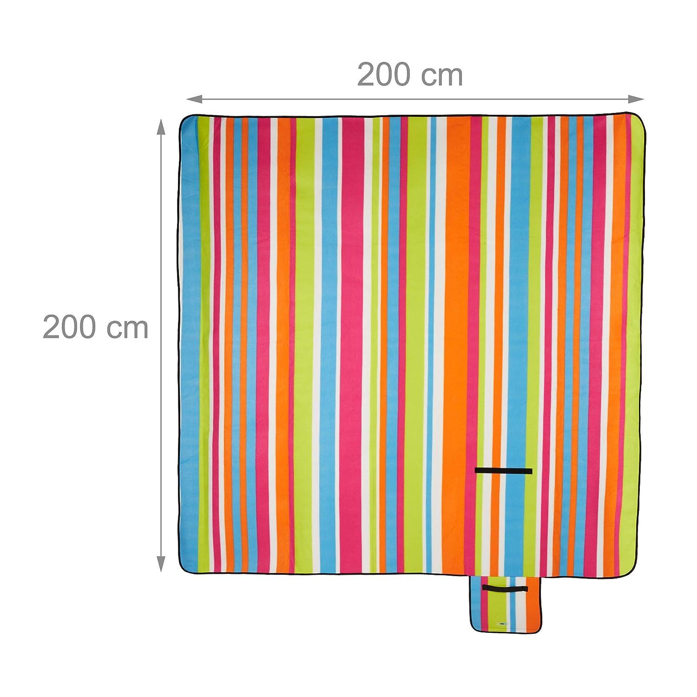Relaxdays Couverture Pique-Nique Picnic Plaid imperm/éable 200x200 cm poign/ée Isolation Tapis Color/é Rayures