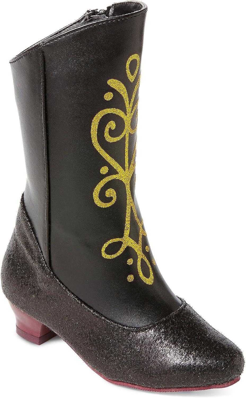 Amazon.com: Disney Frozen Princesa Anna Negro y Oro Botas de ...