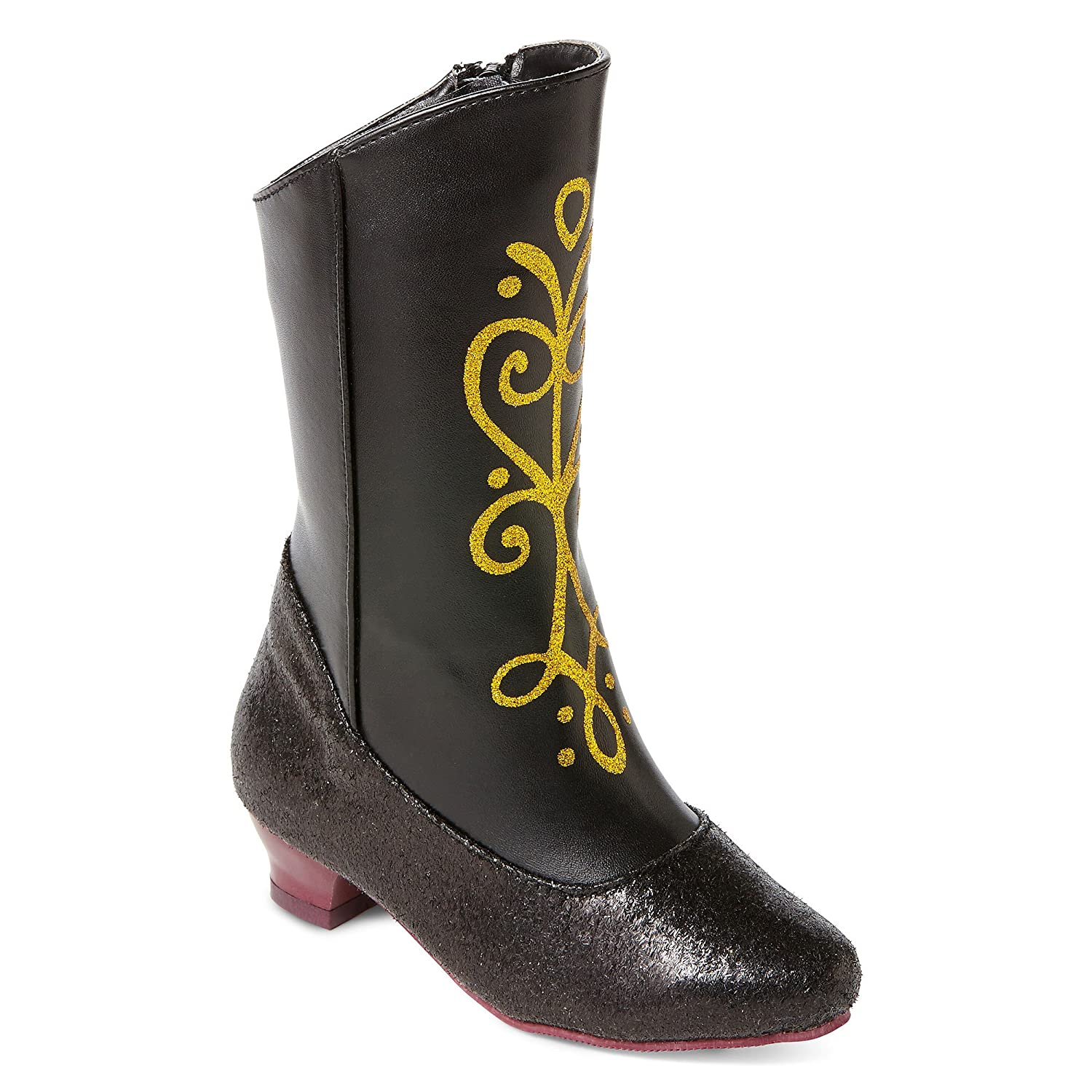 9//10 Disney Frozen Princess Anna Black and Gold Costume Boots