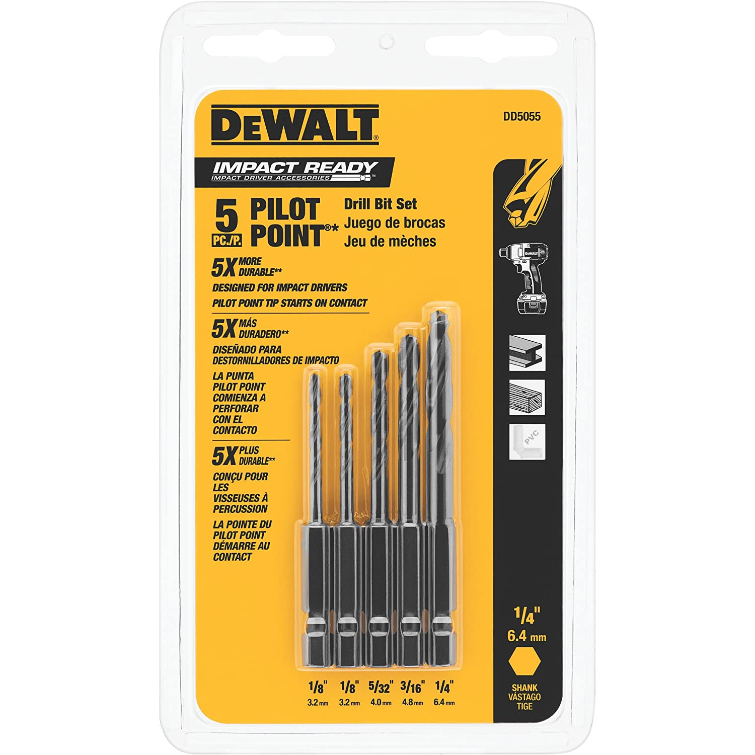 DEWALT DD5055 IMPACT READY Drilling Set, 5-Piece - Jobber Drill Bits - Amazon.com