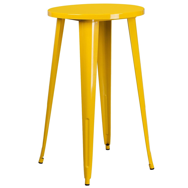 Flash Furniture 24'' Round Yellow Metal Indoor-Outdoor Bar Height Table