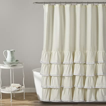 Lush Decor 16T002857 Ella Lace Ruffle Shower Curtain, 72 x 72, Ivory