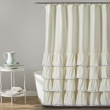 Amazoncom Lush Decor 16t002857 Ella Lace Ruffle Shower Curtain 72