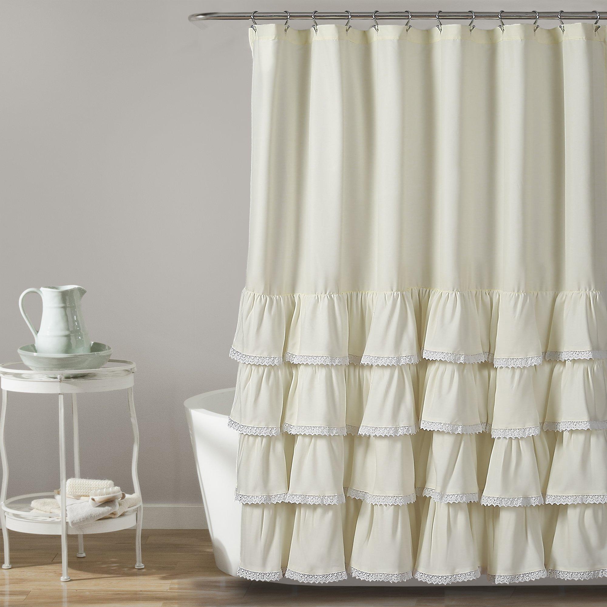 Lush Decor 16T002857 Ella Lace Ruffle Shower Curtain, 72'' x 72'', Ivory