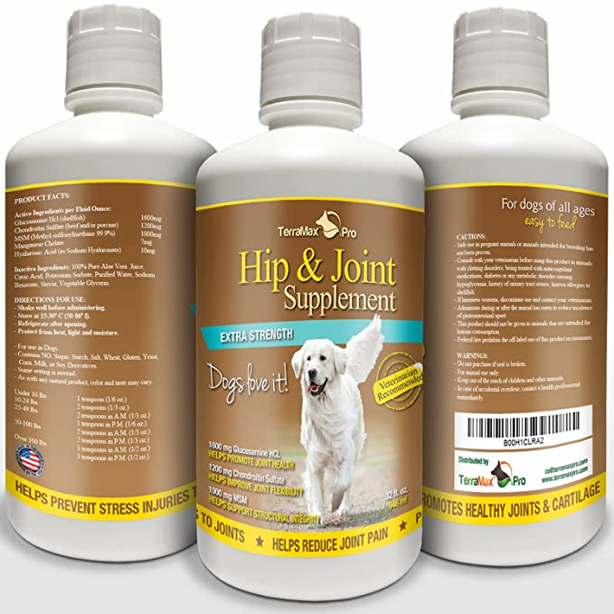 6b16de2ba Amazon.com  TerraMax Pro Best Hip and Joint Supplement for Dogs - Liquid  Glucosamine w Chondroitin MSM and Hyaluronic Acid - Extra Strength - Safe  Natural ...