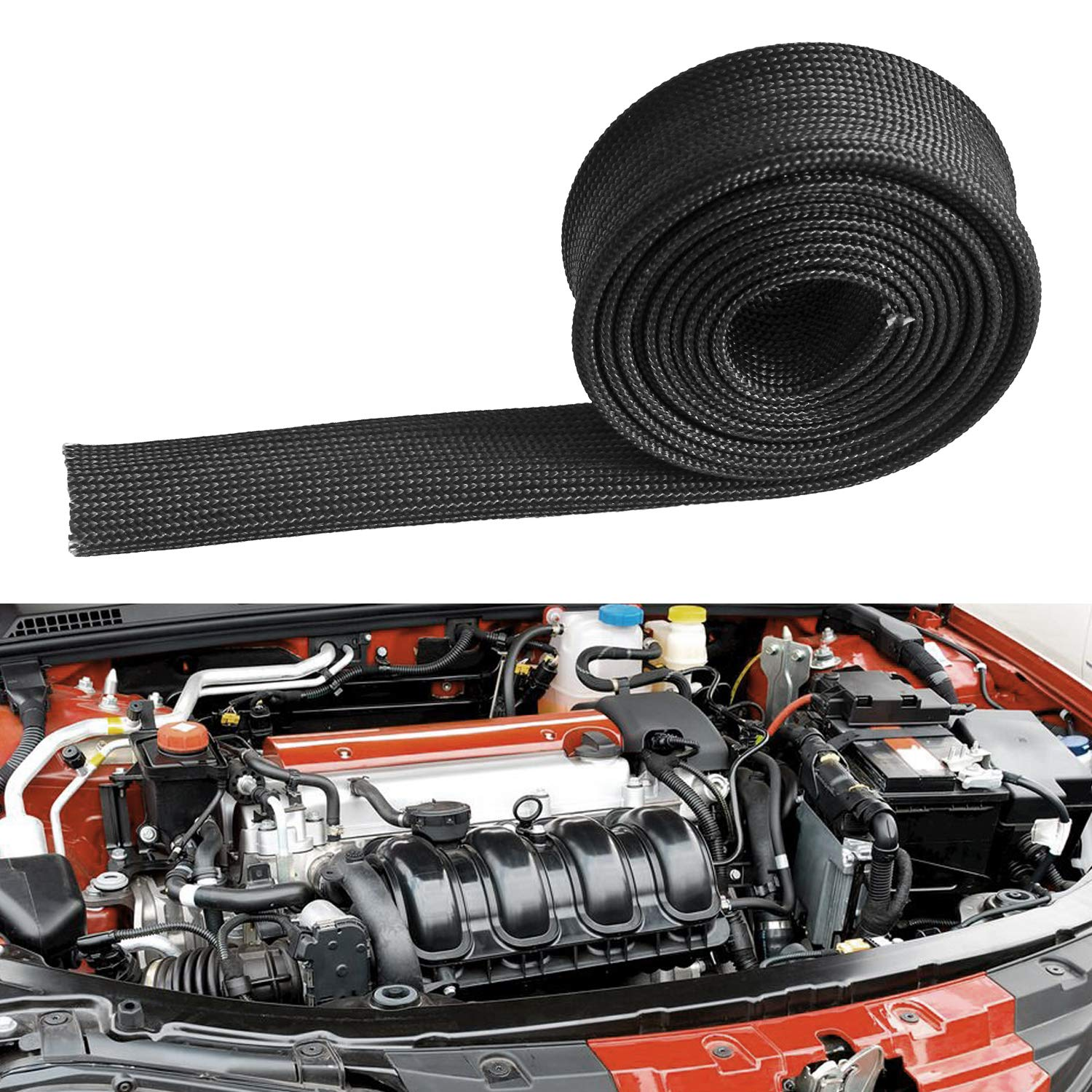 for Car Wire Loom Protection 3//5 Fiberglass Heat Wire Shield Sleeve Adjustable Heat High Temp Shield Black Colour 5FT-16MM