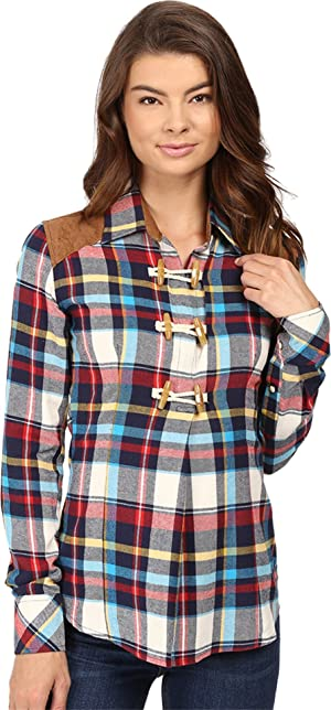 Rock and Roll Cowgirl Women's Long Sleeve Snap B4S8381 Navy Button-up Shirt SM