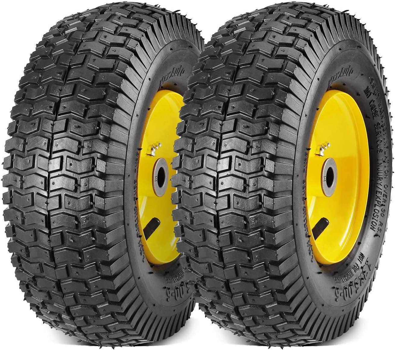 MaxAuto 2-Pack 13x5.00-6 2PLY Turf Mower Tractor Tire with Yellow Rim, (3