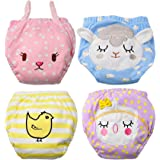 Baby Girl's Training Pants Toddler Training underwear 4 Packs Cute Potty Cloth Diaper Cotton Nappy Underwear for Kids Reusable 3 Layers Potty pants