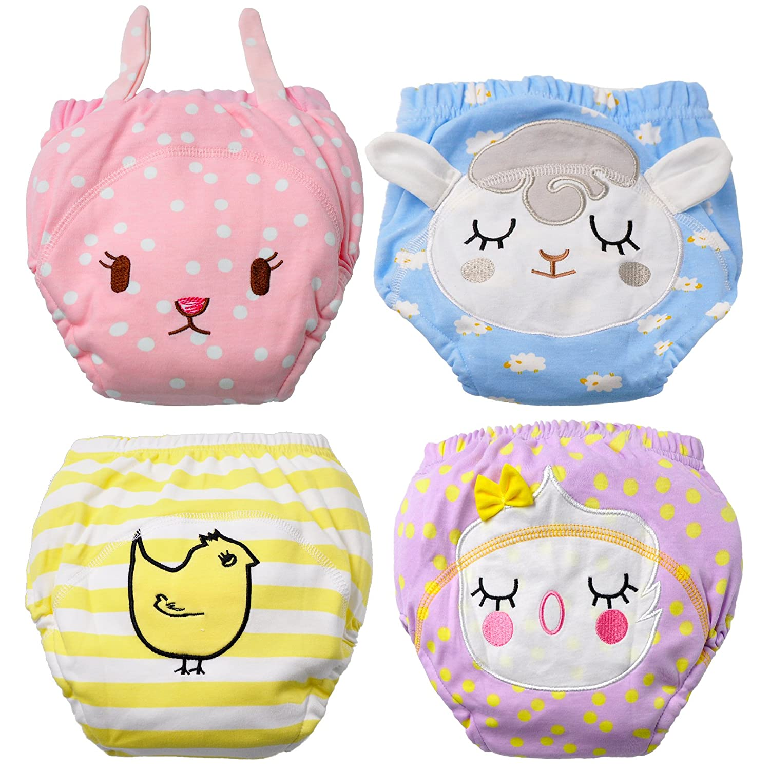 Baby Boy's Training Pants Toddler Potty Cotton Pants Cloth Diaper 4 Packs Cute Nappy Underwear for Kids Washable 3 Layers Potty Pants.(Bigger Than Normal Size, Suggest to Order Down a Size) MooMoo Baby