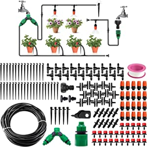 Drip Irrigation Kit Automatic Outdoor Watering Sprinkler System with 100ft 1/4