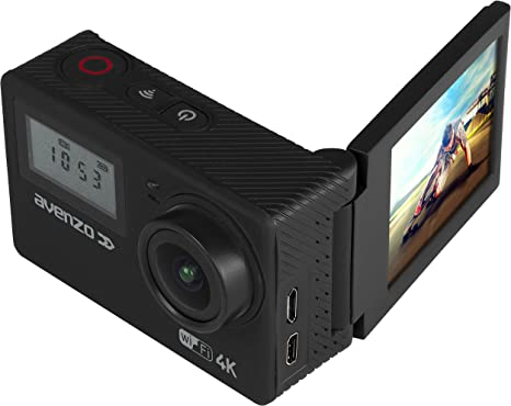 Avenzo AV715 - Cámara Deportiva 4K con WiFi, Pantalla giratoria y LCD Frontal, Color Negro: Amazon.es: Electrónica