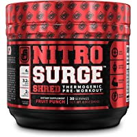 NITROSURGE Shred Pre Workout Supplement - Energy Booster, Instant Strength Gains, Sharp Focus, Powerful Pumps - Nitric…