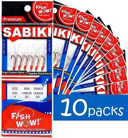 Japan Sabiki 3 White Feather /& Fish Skin 6 hooks Saltwater String Hook Luer Bait