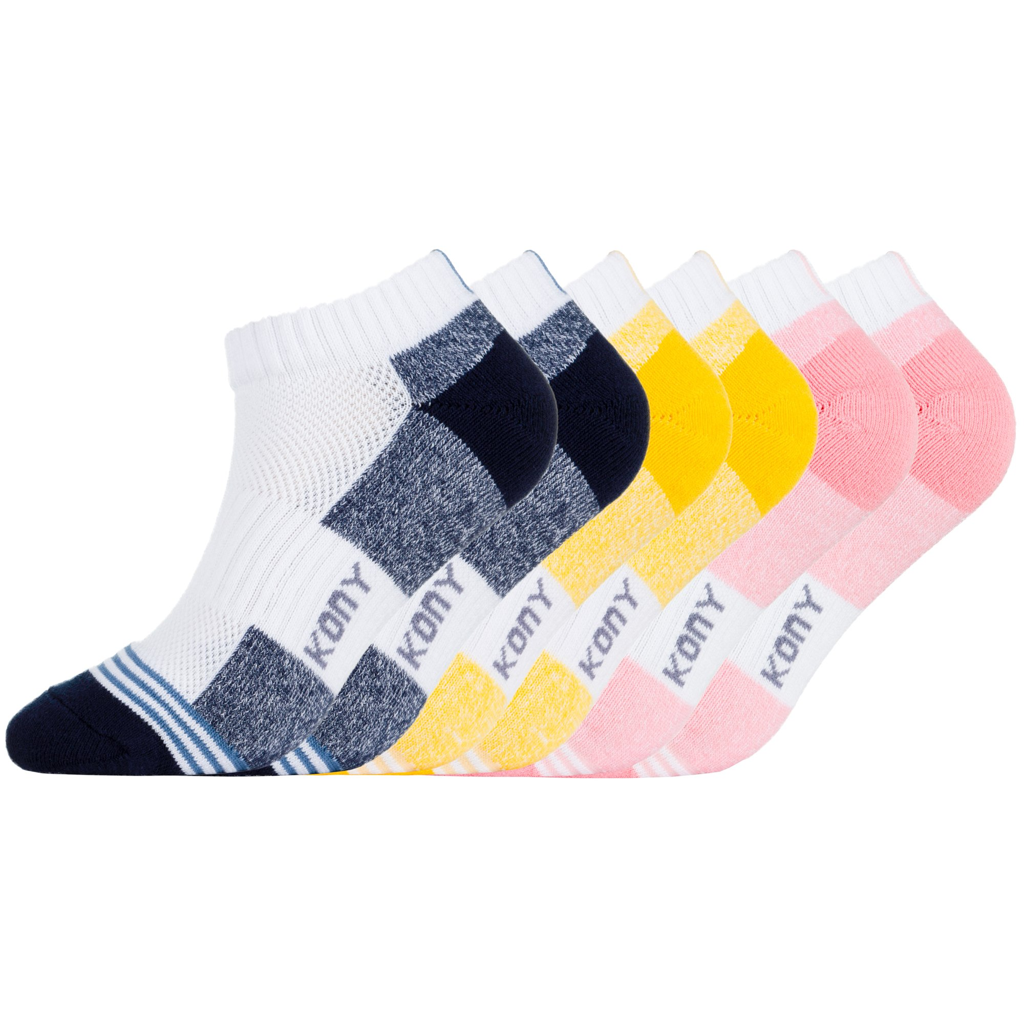 KONY Women's 6 Pack Thick Cotton Cushioned Outdoor Athletic Low Ankle Socks Air-cross Mesh Gym Running Socks (Multicolor-2)