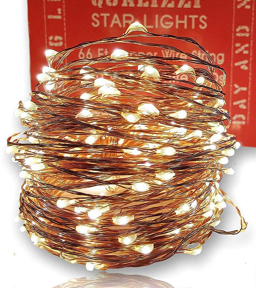 Qualizzi Starry Lights with Remote Control/Dimmable (66 Feet/200 LEDs). Very Pretty Bright Fairy Light Effects on Led Copper Wire String Lightings. Enjoy Magic Decorative Garlands All Year Around