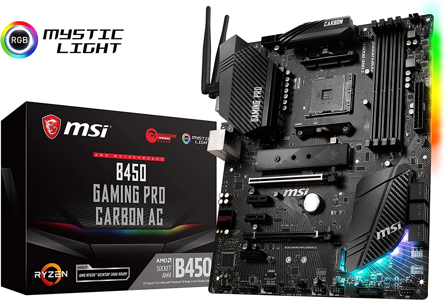 MSI B450 Gaming Pro Carbon AC Socket AM4 ATX Motherboard Black