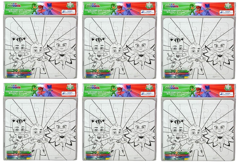 Amazon.com: PJ Masks Color Your Own Large Puzzle w/4 Crayon- 6 Pack: Toys & Games